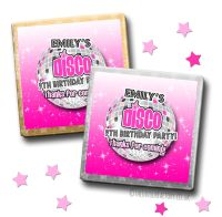 Kids Party Chocolates Favours Personalised Pink Disco x10