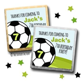 Kids Party Chocolates Favours Personalised Football Age x10