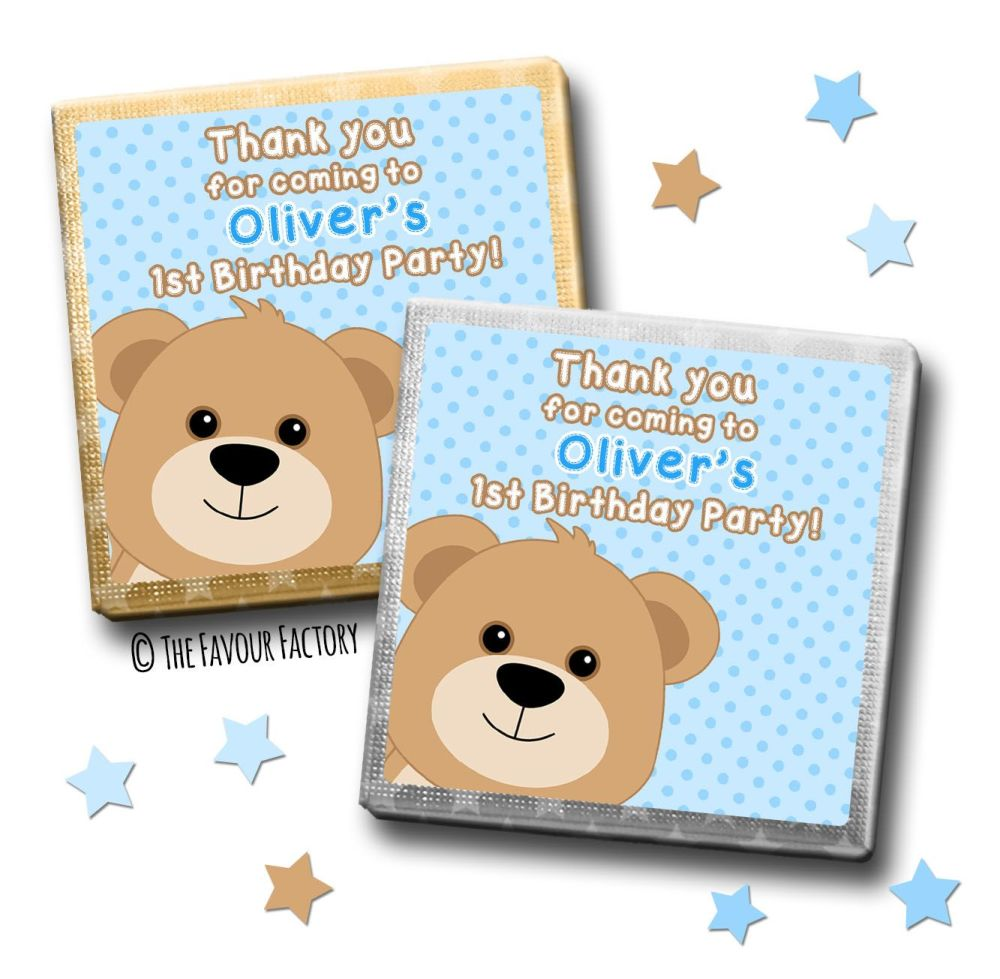 Kids Party Chocolates Favours Personalised Blue Teddy x10