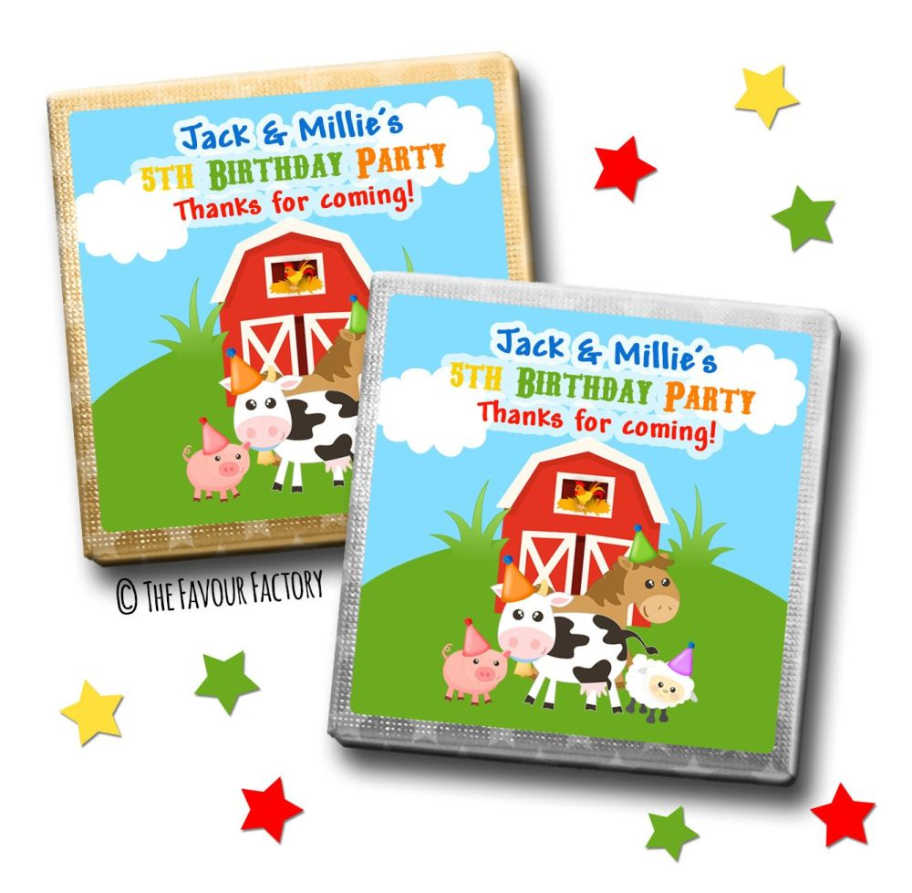 Kids Party Chocolates Favours Personalised Farmyard Animals x10