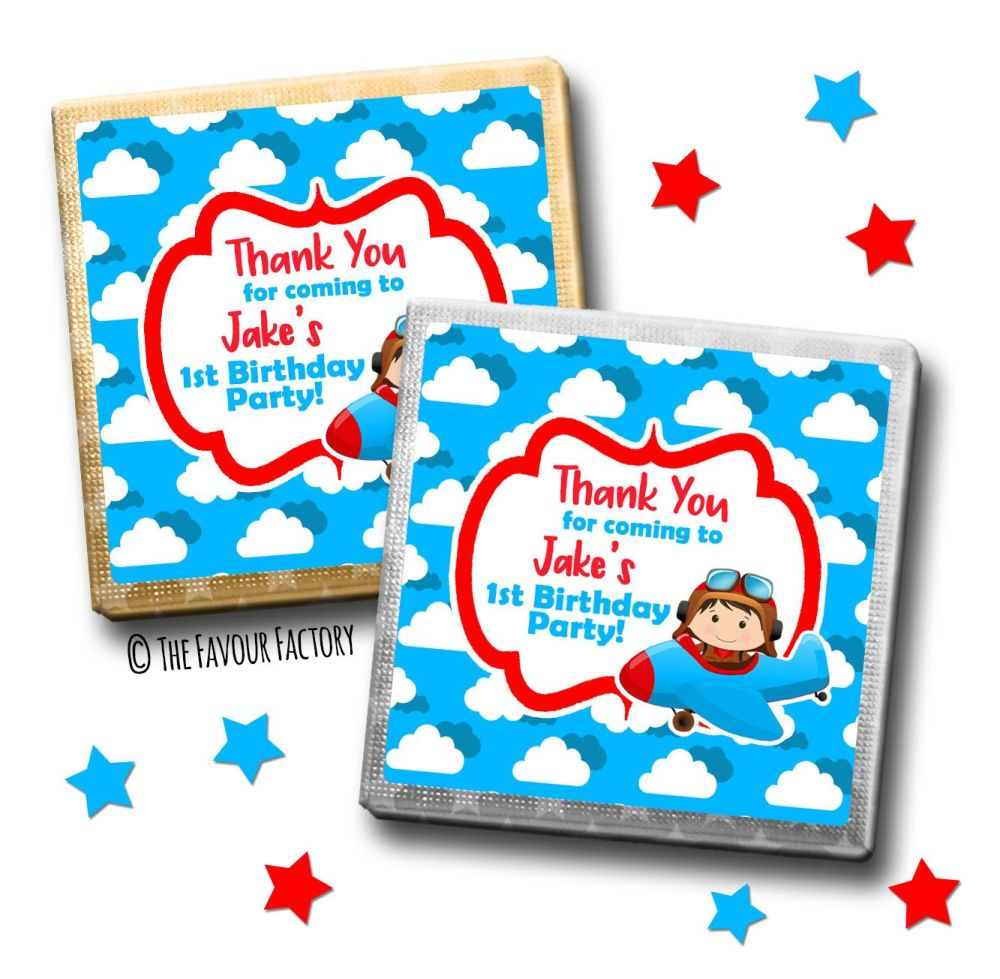 Kids Party Chocolates Favours Personalised Little Pilot Flying x10