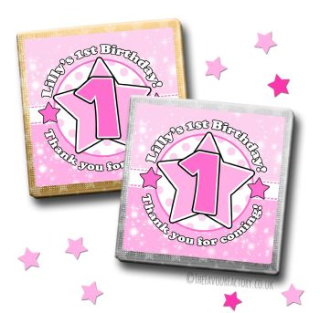 Kids Party Chocolates Favours Personalised Star Age Pink x10