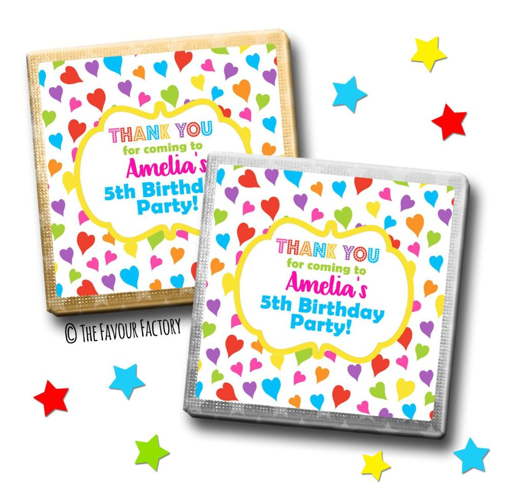 Kids Party Chocolates Favours Personalised Rainbow Polka Dot Hearts x10