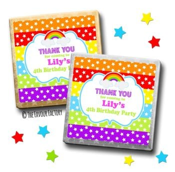Kids Party Chocolates Favours Personalised Rainbow Polka Dot Stars x10
