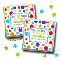 Kids Party Chocolates Favours Personalised Rainbow Circles x10