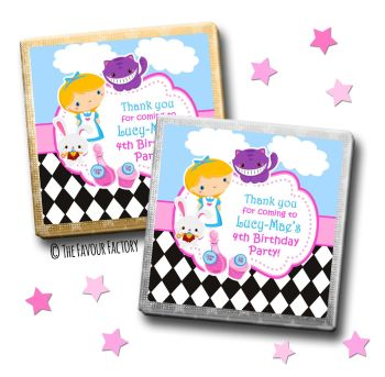 Kids Party Chocolates Favours Personalised Alice in Wonderland x10