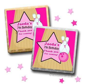 Kids Party Chocolates Favours Personalised Girls Bowling x10
