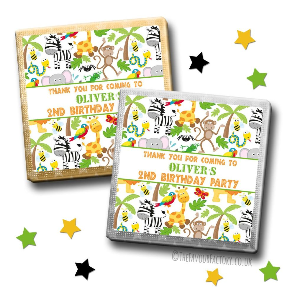 Kids Party Chocolates Favours Personalised Lots of Animals x10