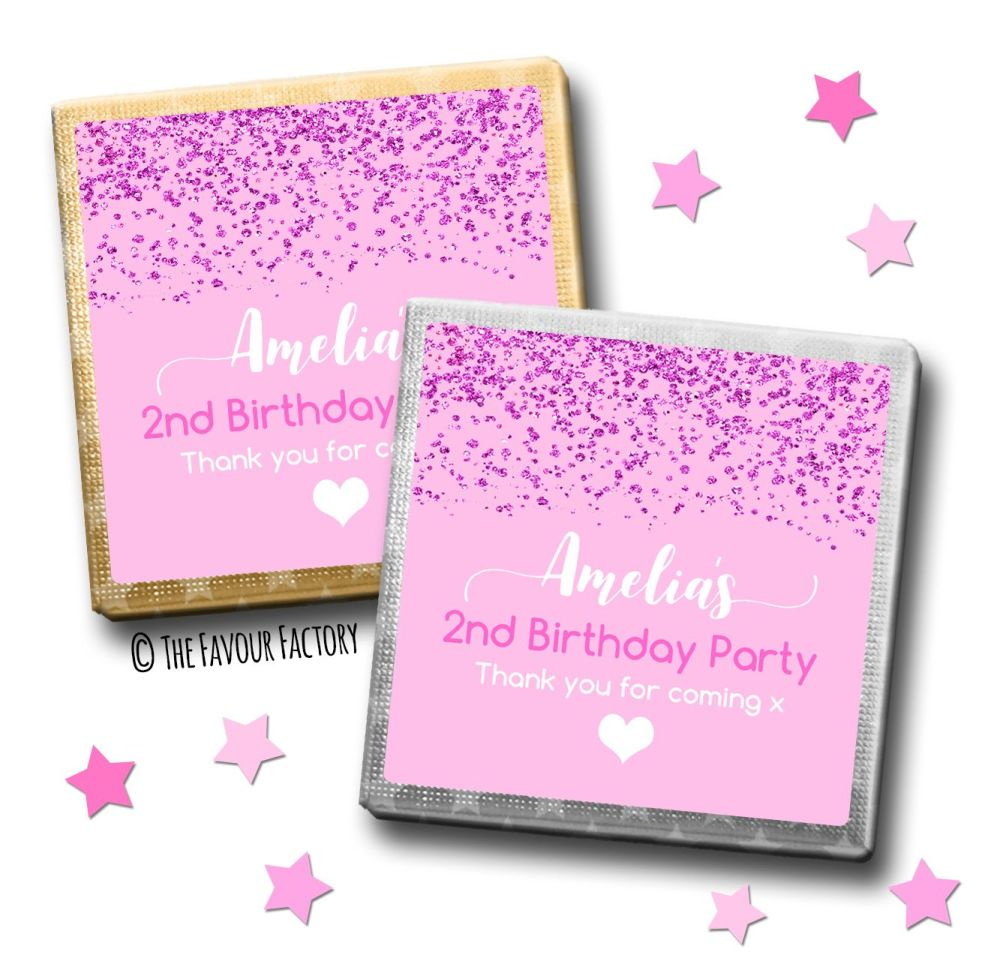 Kids Party Chocolates Favours Personalised Glitter Confetti Pink x10