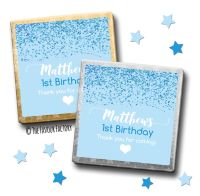 Kids Party Chocolates Favours Personalised Glitter Confetti Blue x10