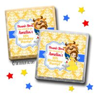 Kids Party Chocolates Favours Personalised Beauty & The Beast x10