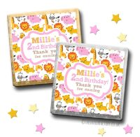 Kids Party Chocolates Favours Personalised Girls Jungle Animals x10