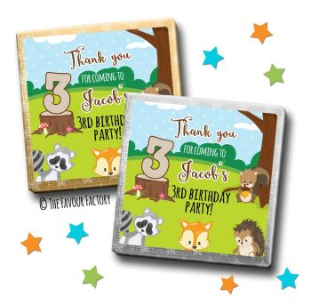 Kids Party Chocolates Favours Personalised Woodland Animals x10