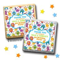 Kids Party Chocolates Favours Personalised Monsters x10