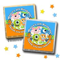 Kids Party Chocolates Favours Personalised Party Monsters x10