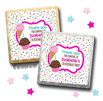 Kids Party Chocolates Favours Personalised Sprinkles Ice Creams x10