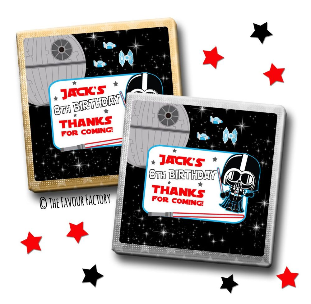 Kids Party Chocolates Favours Personalised Star Wars Darth x10