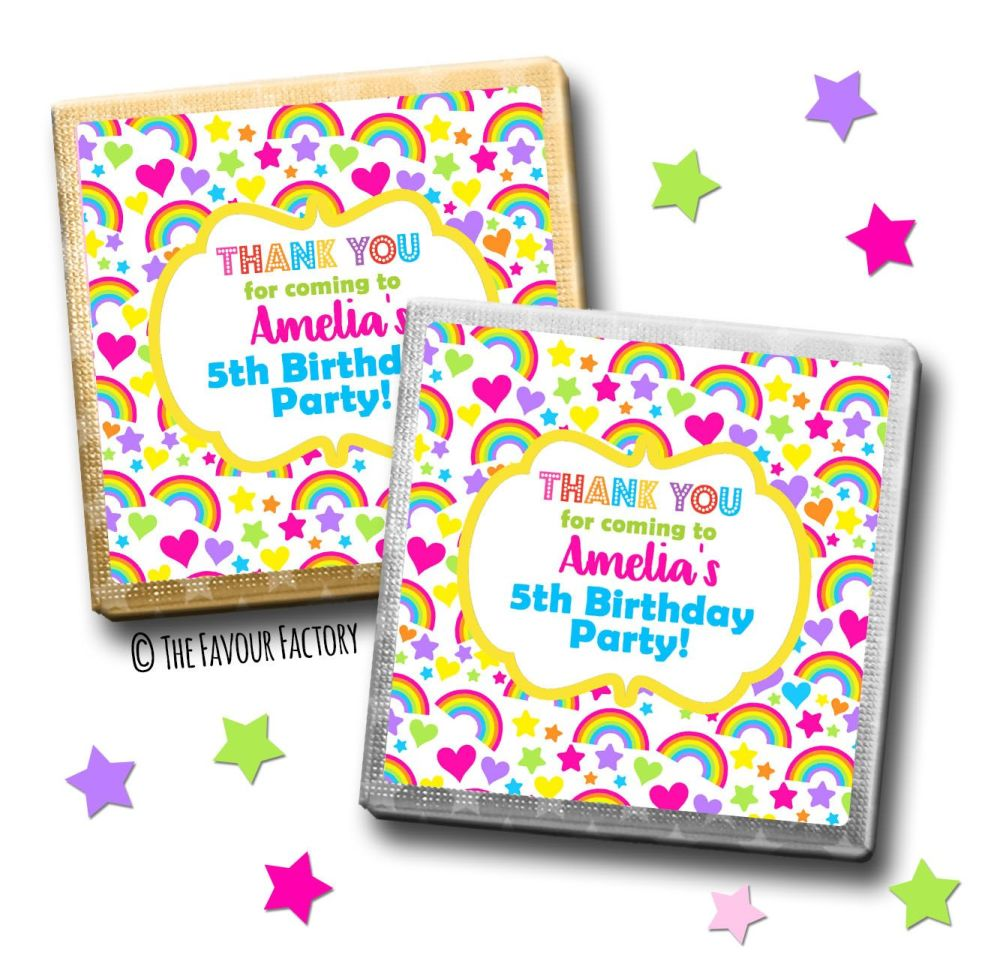 Kids Party Chocolates Favours Personalised Hearts & Rainbows x10