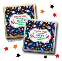 Kids Party Chocolates Favours Personalised Space Rockets x10