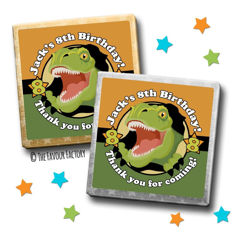 Kids Party Chocolates Favours Personalised Scary Dinosaur x10