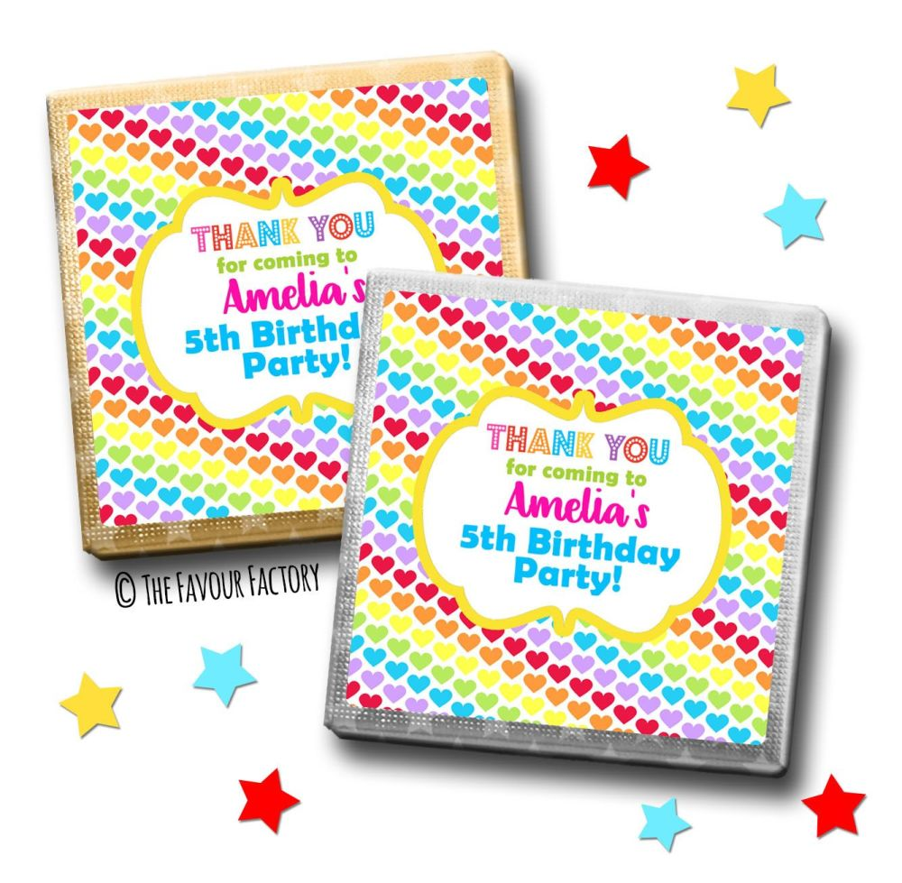 Kids Party Chocolates Favours Personalised Rainbow Hearts x10