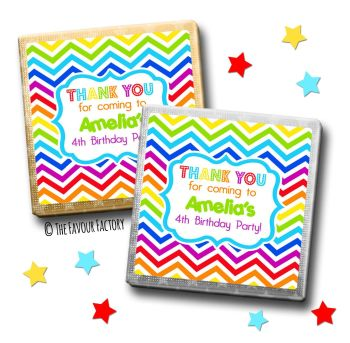 Kids Party Chocolates Favours Personalised Rainbow Zig Zags x10
