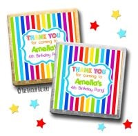 Kids Party Chocolates Favours Personalised Rainbow Stripes x10