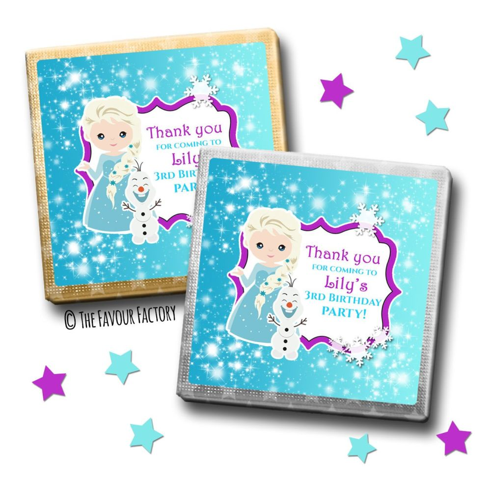 Kids Party Chocolates Favours Personalised A Frozen Snow Princess x10