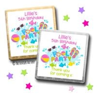Kids Party Chocolates Favours Personalised Pool Party x10