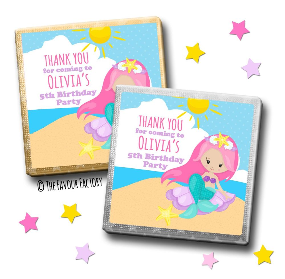 Kids Party Chocolates Favours Personalised Mermaid on Beach x10