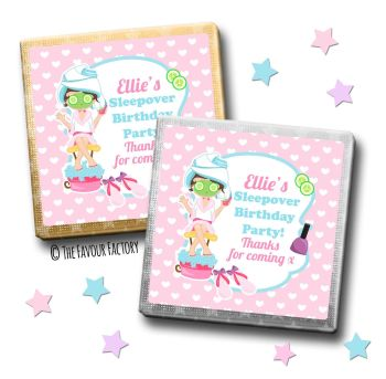 Kids Party Chocolates Favours Personalised Spa Pamper Sleepover x10