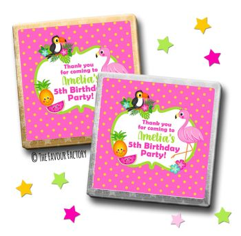 Kids Party Chocolates Favours Personalised Tropical Flamingo x10