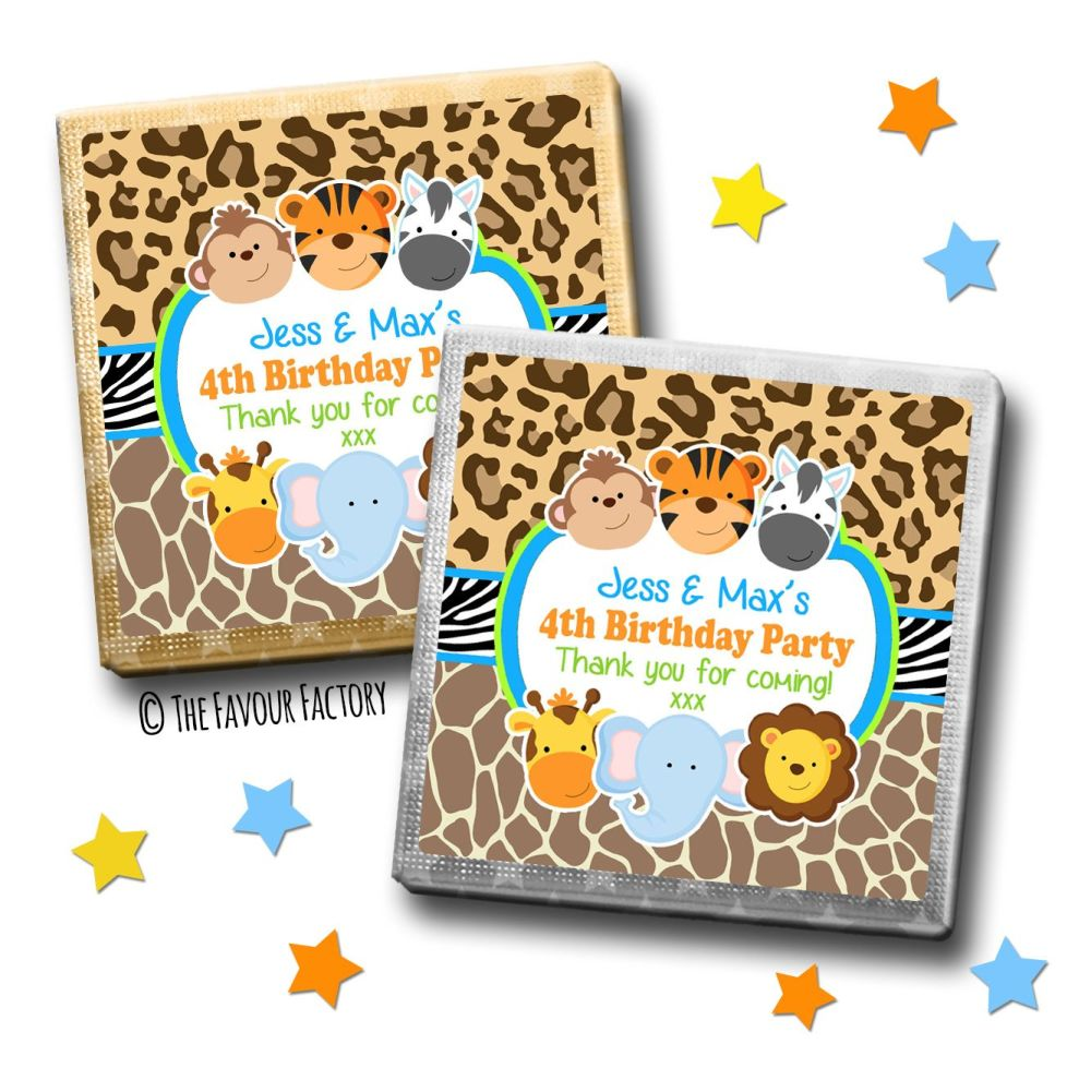 Kids Party Chocolates Favours Personalised Wild Animals Prints x10