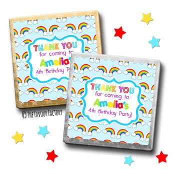 Kids Party Chocolates Favours Personalised Lots of Rainbows x10