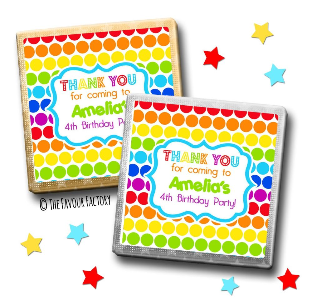 Kids Party Chocolates Favours Personalised Rainbow Polka Dots x10