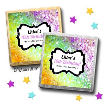 Kids Party Chocolates Favours Glitter Rainbow Yellows to purples x10
