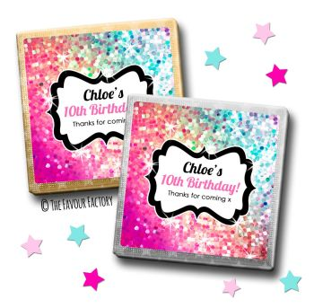 Kids Party Chocolates Favours Glitter Rainbow Pinks to purples x10