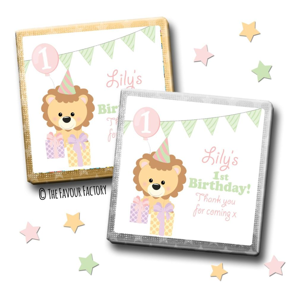 Kids Party Chocolates Favours Personalised Party Lion Girls x10