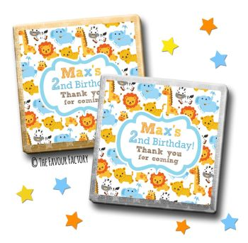 Kids Party Chocolates Favours Personalised Boys Jungle Animals x10