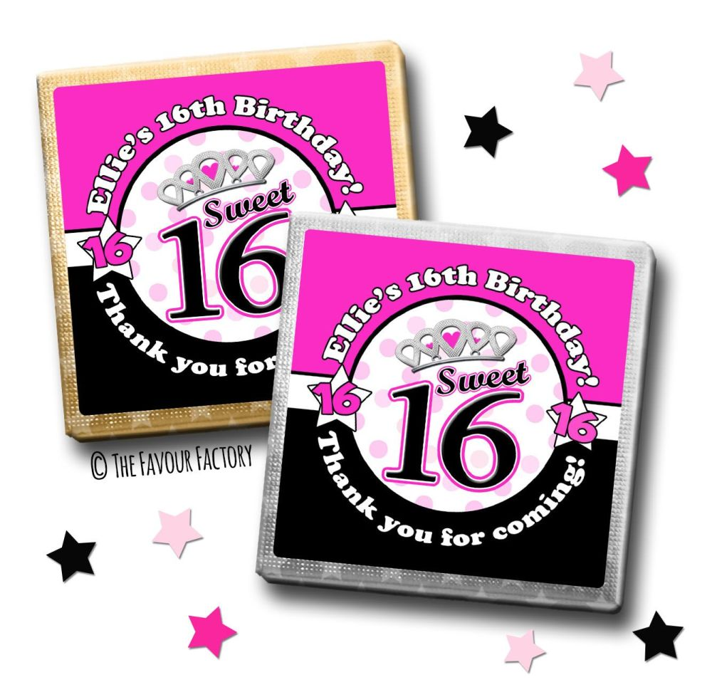 Kids Party Chocolates Favours Personalised Sweet Sixteen x10