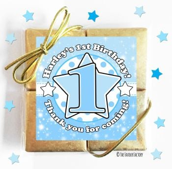 Kids Party Chocolate Quads Favours Age Star Blue x1