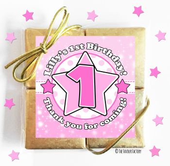 Kids Party Chocolate Quads Favours Age Star Pink x1