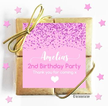 Kids Party Chocolate Quads Favours Pink Glitter Confetti x1