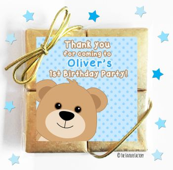Kids Party Chocolate Quads Favours Teddy Bear Blue x1
