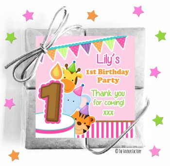 Kids Party Chocolate Quads Favours Animal Friends Girls x1