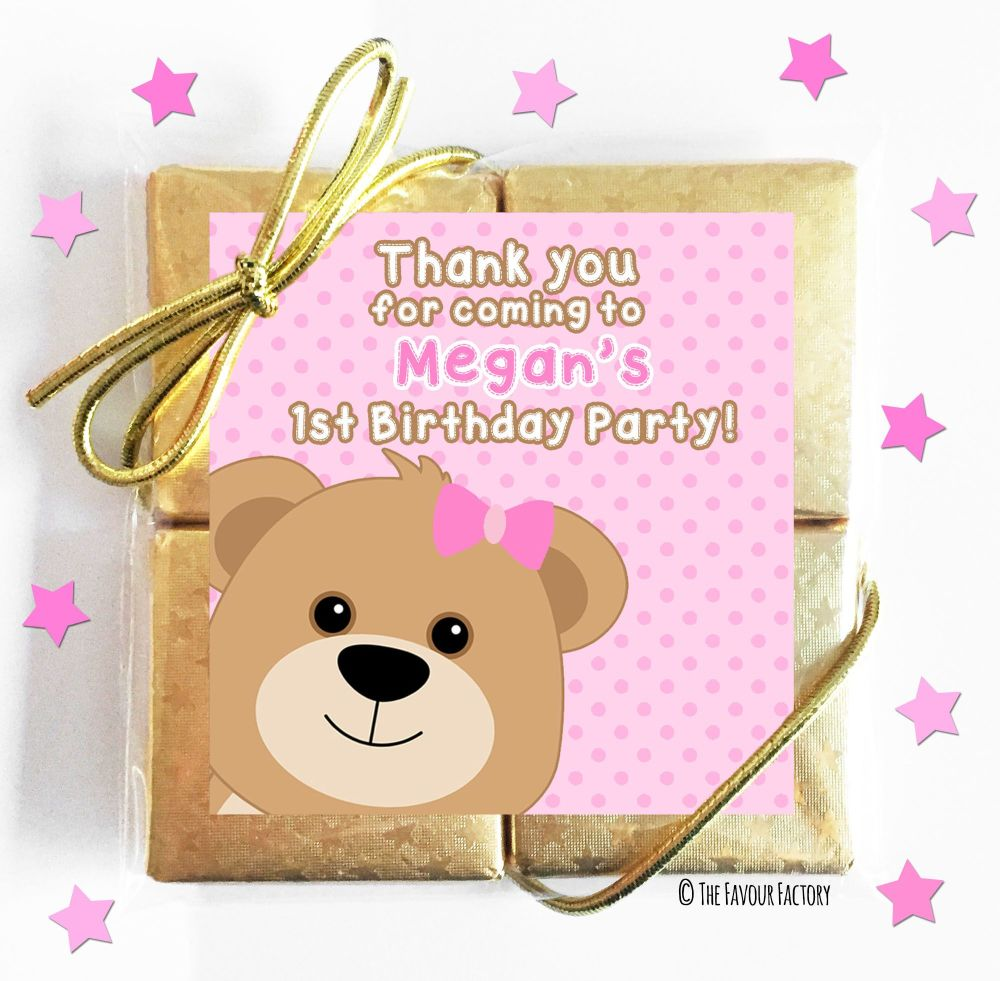 Teddy Bear Pink Kids Party Chocolate Quads