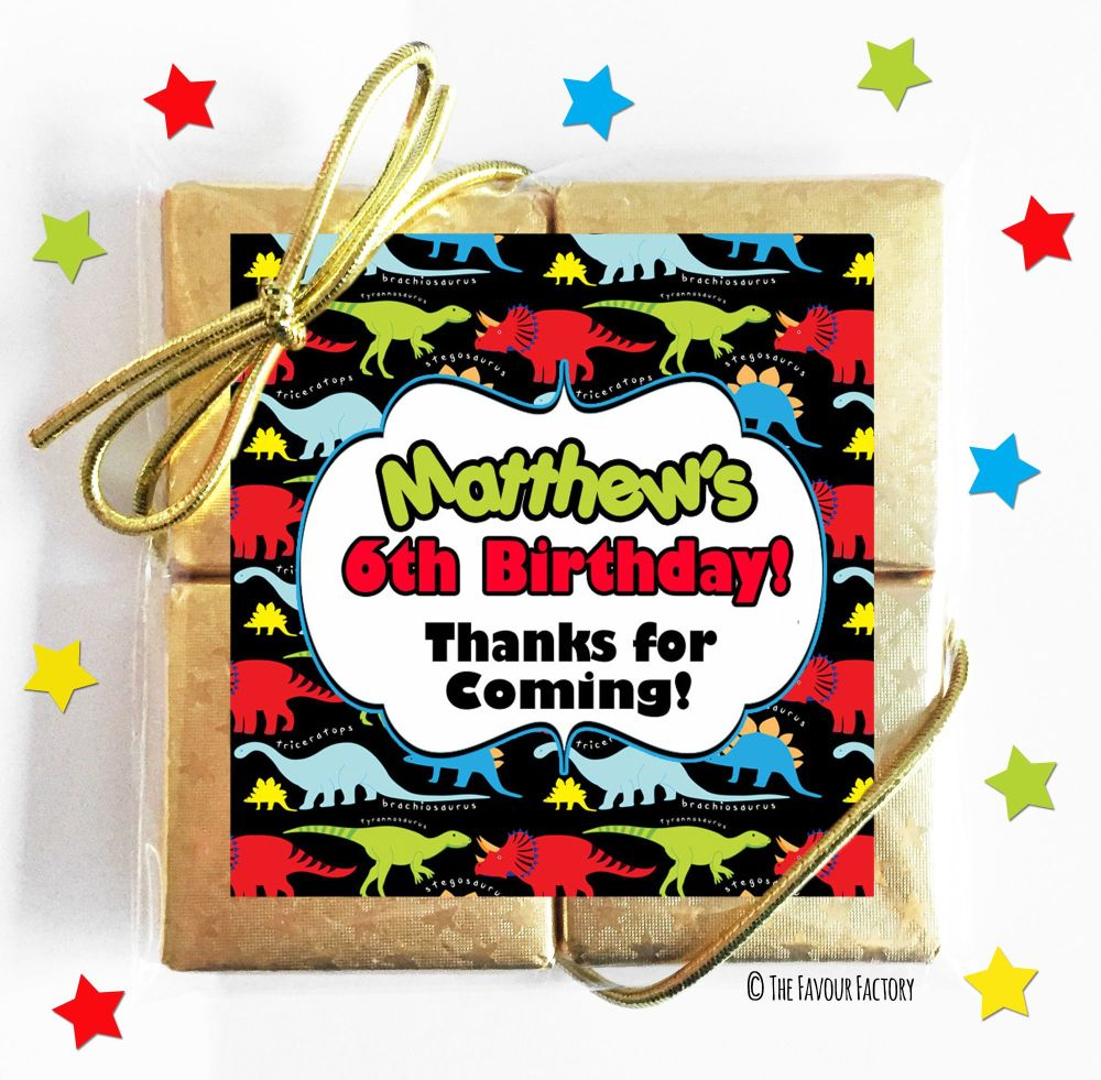 Bright Dinosaurs Kids Party Chocolate Quads