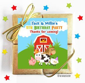Kids Party Chocolate Quads Favours Farmyard Friends x1