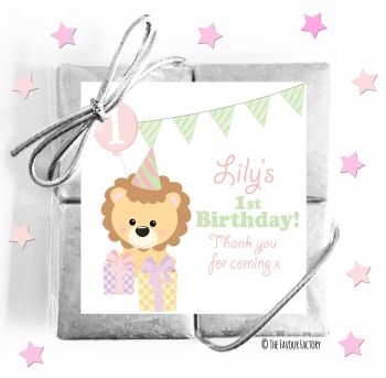 Kids Party Chocolate Quads Favours Girl Party Lion x1