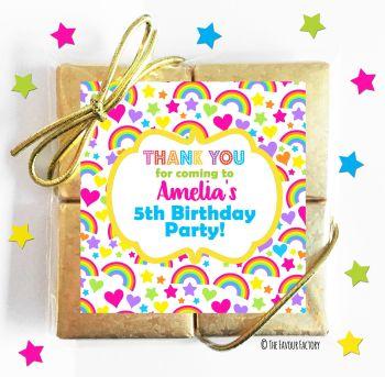 Kids Party Chocolate Quads Favours Hearts & Rainbows x1